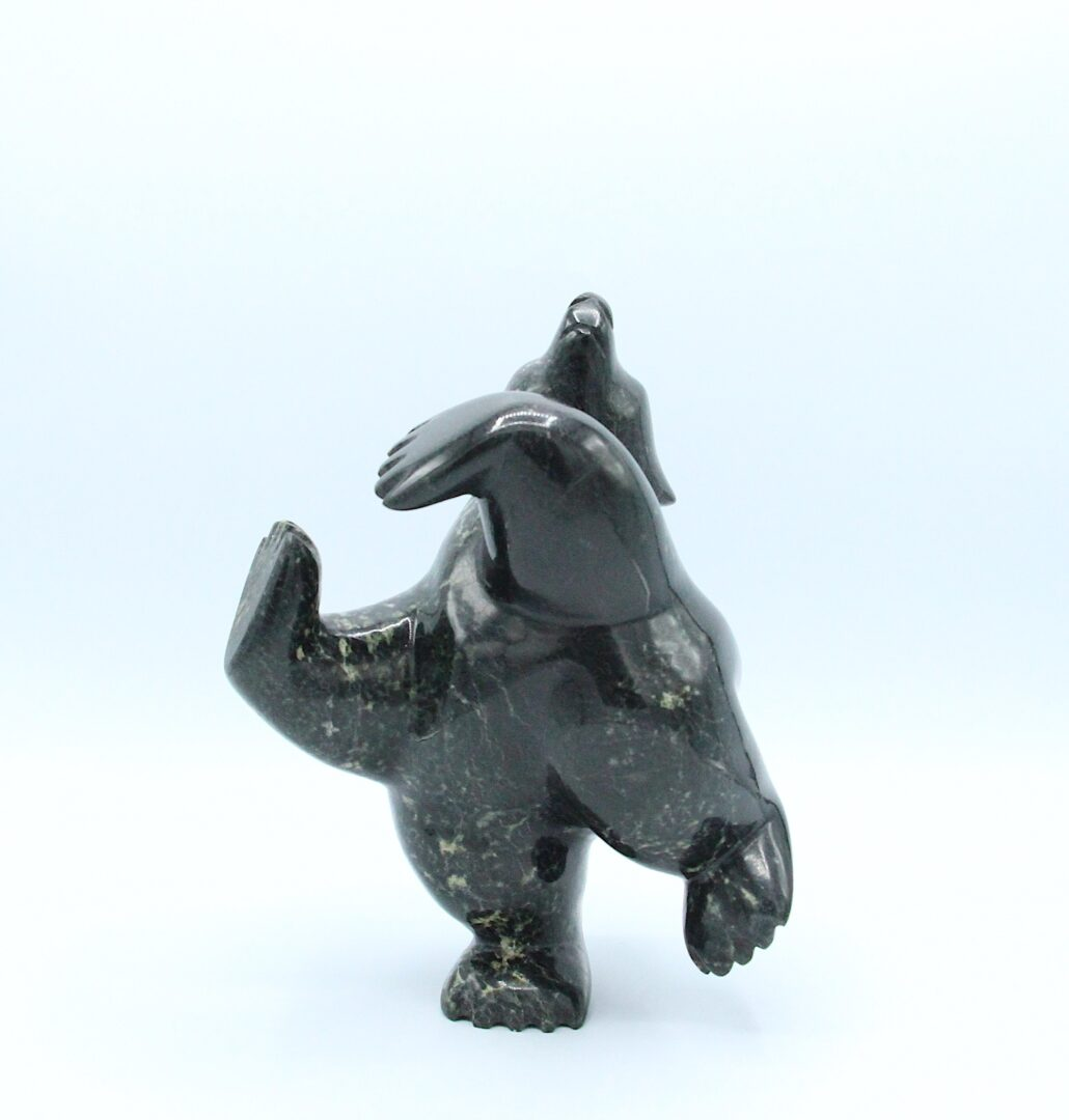 dancing diving bear Inuit Art Sculpture in Serpentine