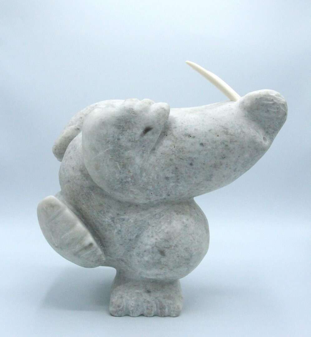dancing walrus inuit art sculpture in marble cape dorset
