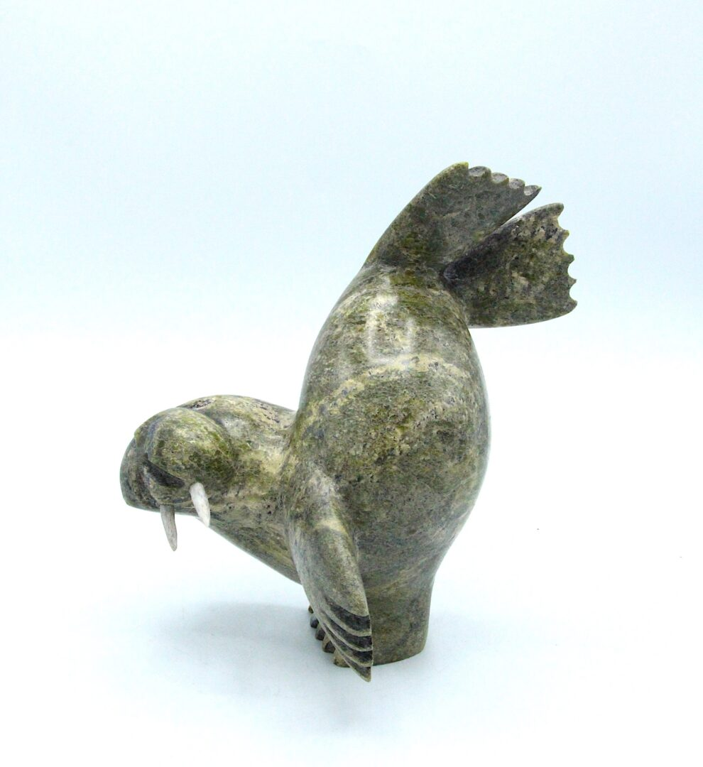 dancing walrus Inuit Art Sculpture in Serpentine and caribou antler