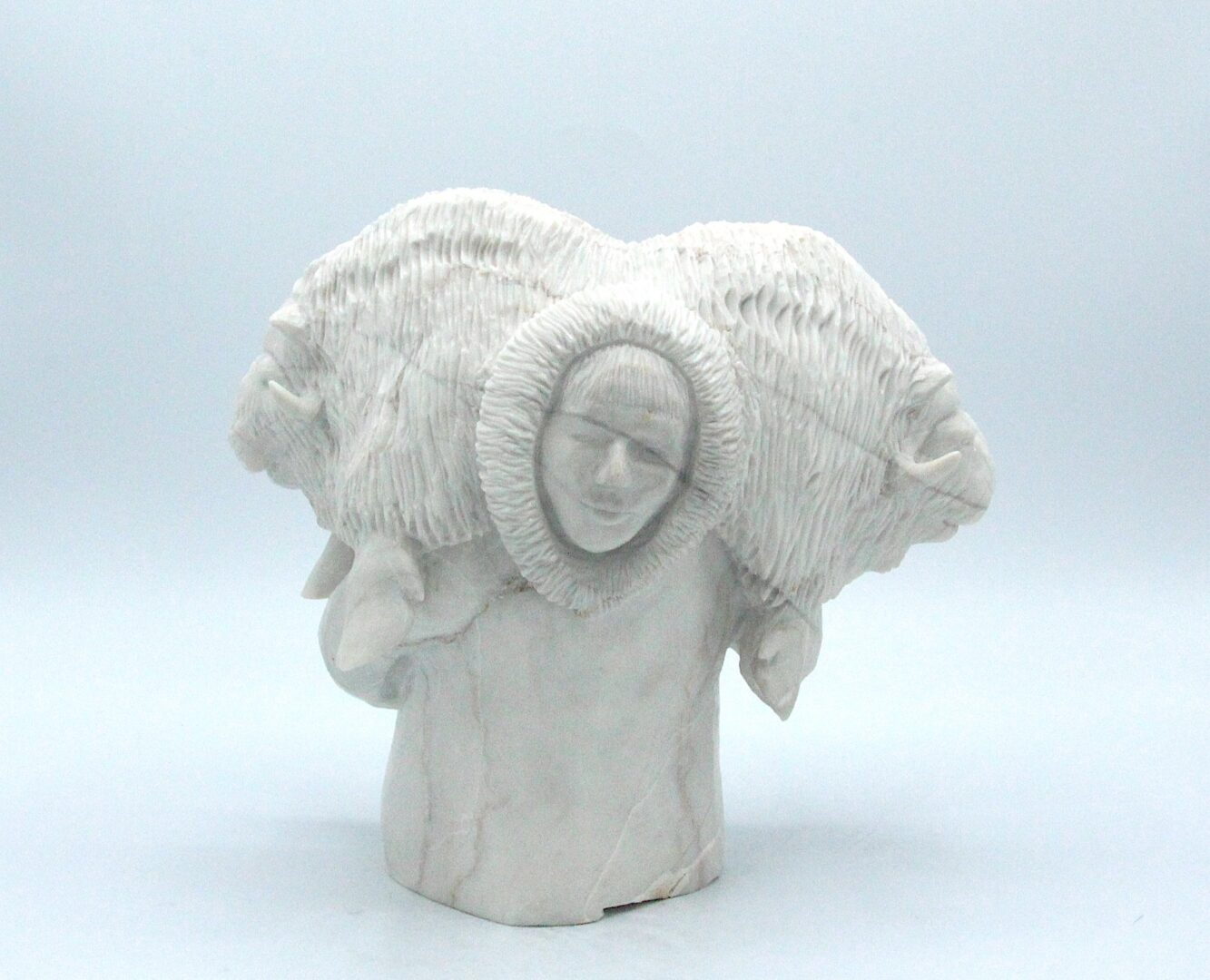 hunter inuit art sculpture in marble