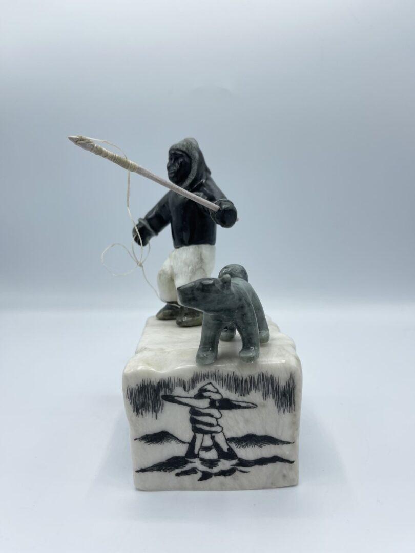 Inuit Art Soapstone Hunter Fisherman Inuk