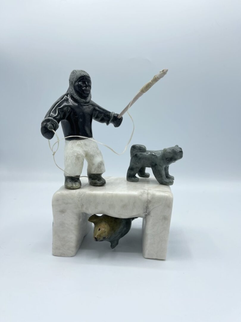 Inuit Art Soapstone Hunter Fisherman Inuk