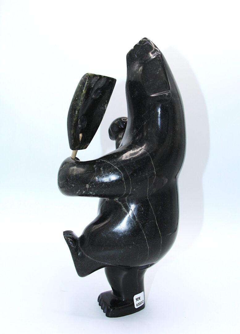 drum dancing bear Inuit Art Sculpture in Serpentine
