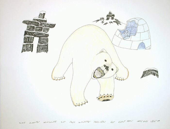 Angry Bear by Kananginak Pootoogook drawing Cape Dorset Fine Arts