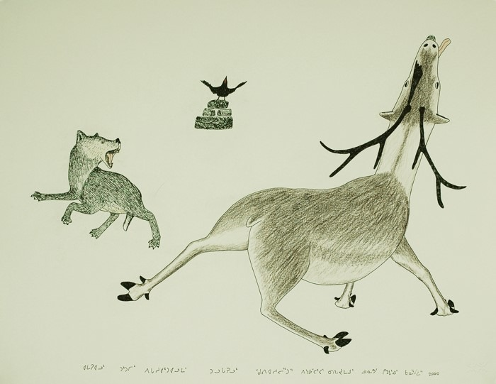 Wolf Caribou and Raven by Kananginak Pootoogook Cape Dorset
