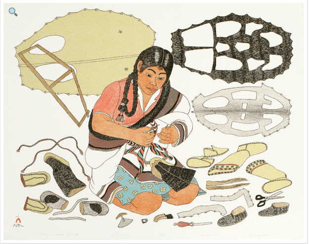 Lithograpy by Kanangiak pootoogook making sealskin kamiks