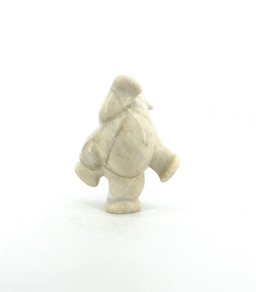 Original inuit art sculpture in white marble carved by Markoosie Papigatuk Bear 66374 from Cape Dorset.