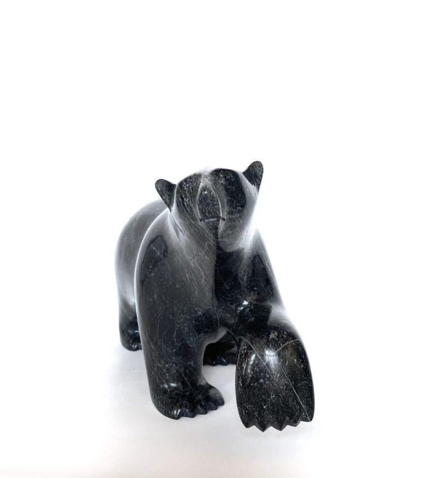 Original Inuit art sculpture carve by Ashevak Adla in serpentine stone. From Cape Dorset, Nunavut, Walking Bear 662