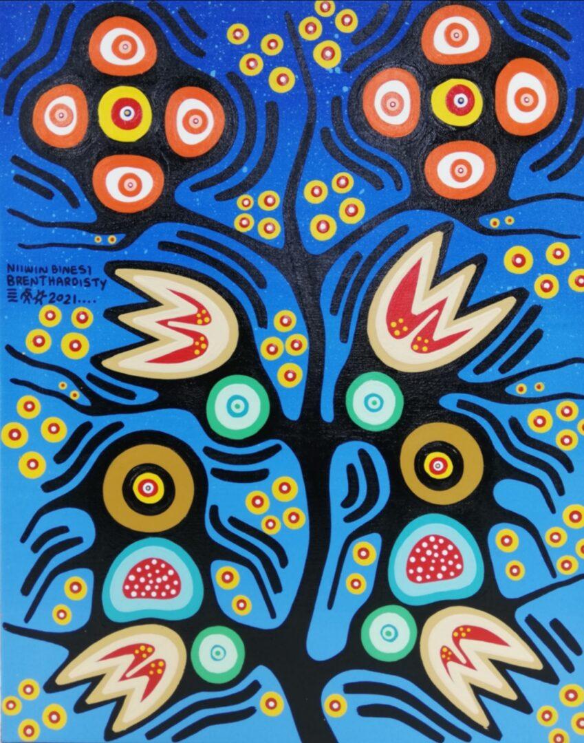 Baby Thunderbirds on Branch of Tree of LifeBrent Hardisty Acylic on Canvas Anishnaabee