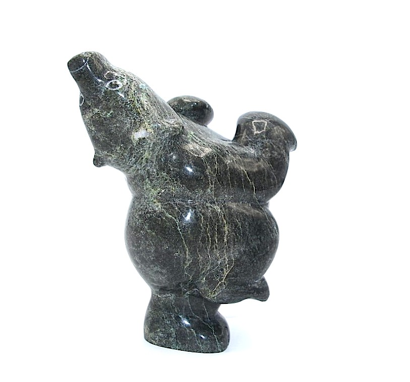 Dancing Bear 18664 by Markoosie Papigatook in serpentine stone from Cape Dorset