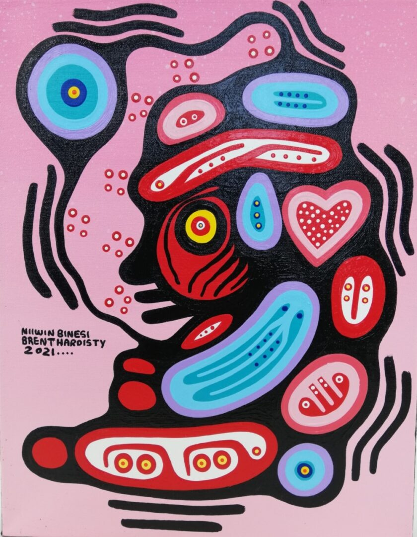 Bonoojiinhs Baby Brent Hardisty Acylic on Canvas Anishnaabee