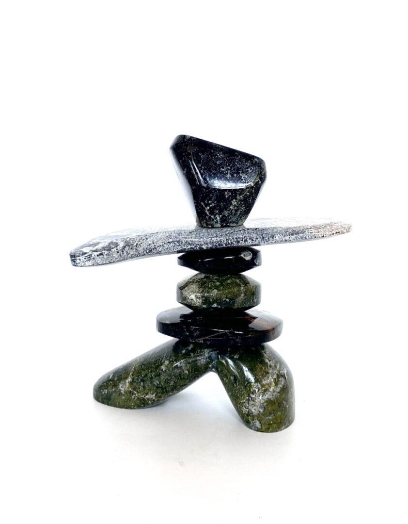 Inukshuk 2231L by Paul Bruneau Ojibway Art sculpture made of serpentine stone