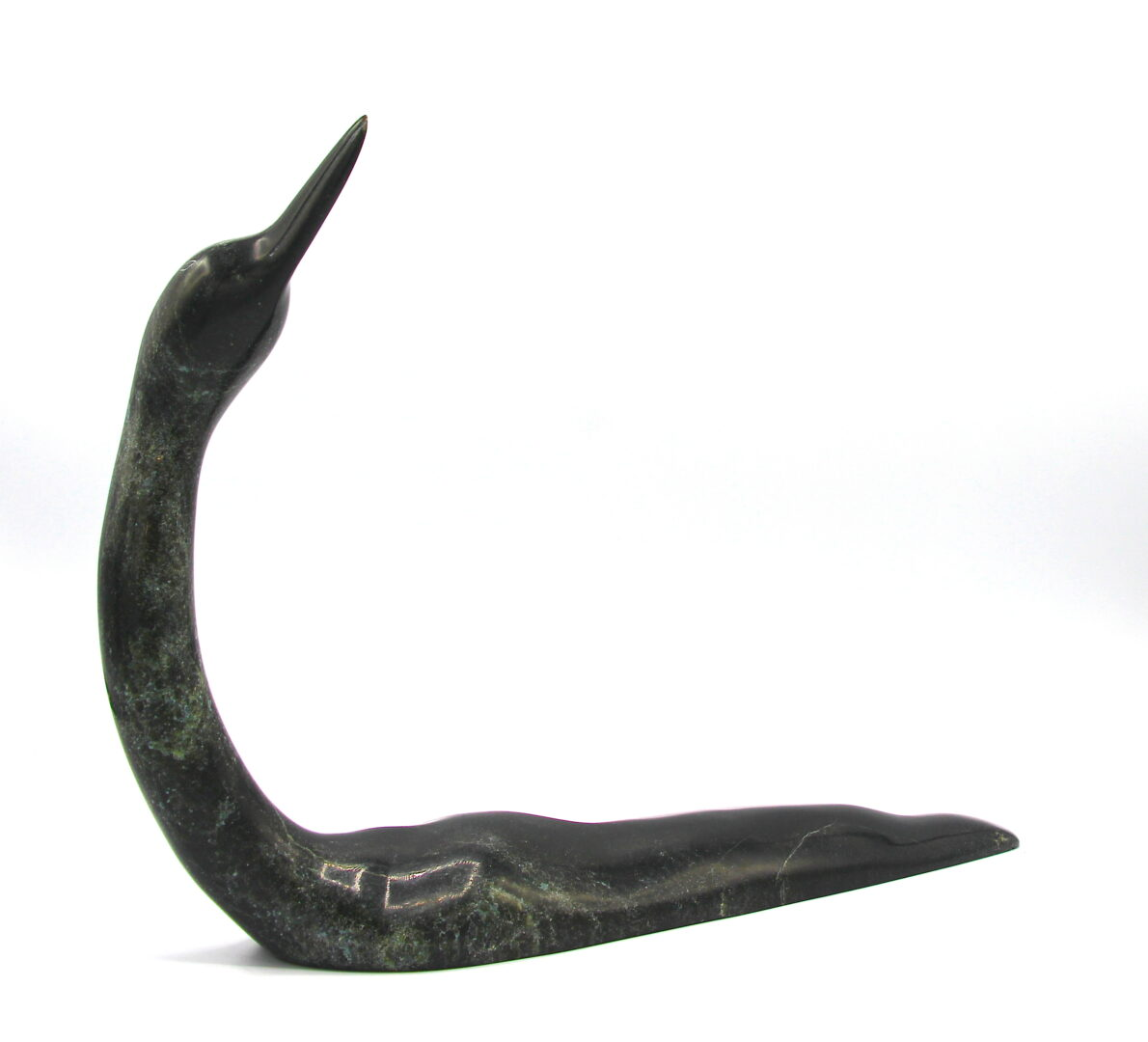 Loon K1225 Inuit art sculptures made of serpentine stone cape dorset