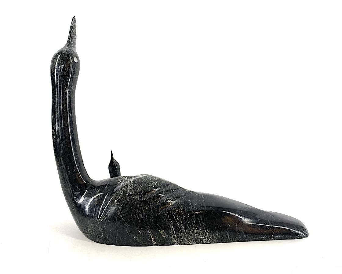 Loon and Chick 18683 by Ning Ashoona cape Dorset Sculpture