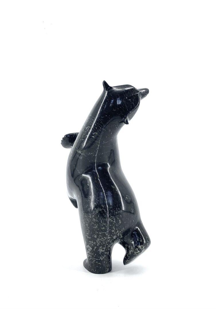 Original Inuit art sculpture carved by Ashevak Adla in serpentine stone from Cape Dorset, Nunavut made in 2021 Dancing Bear 18659