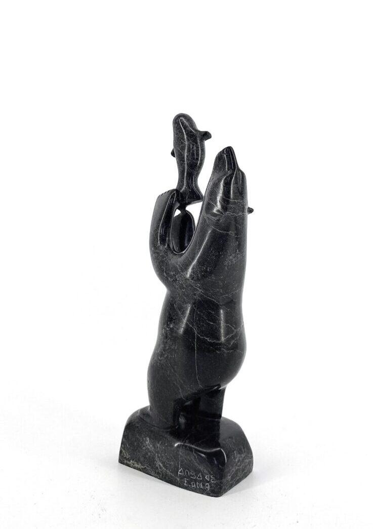Bear with Seal 65410 Original Inuit Art Sculpture made dy Etidloie Adla in 2021 from Cape Dorset, Nunavut in Serpentine