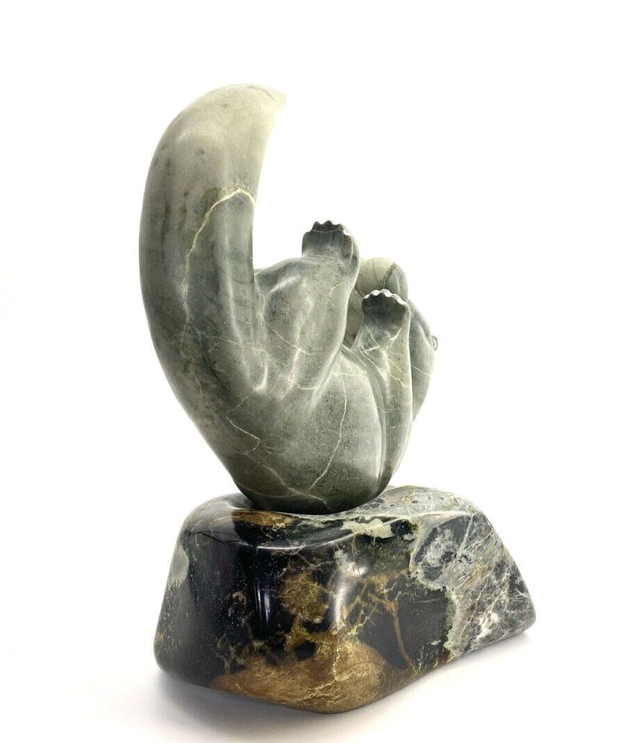 Original Ojibway art sculpture made in soapstone and serpentine by Josh Bruneau Otter