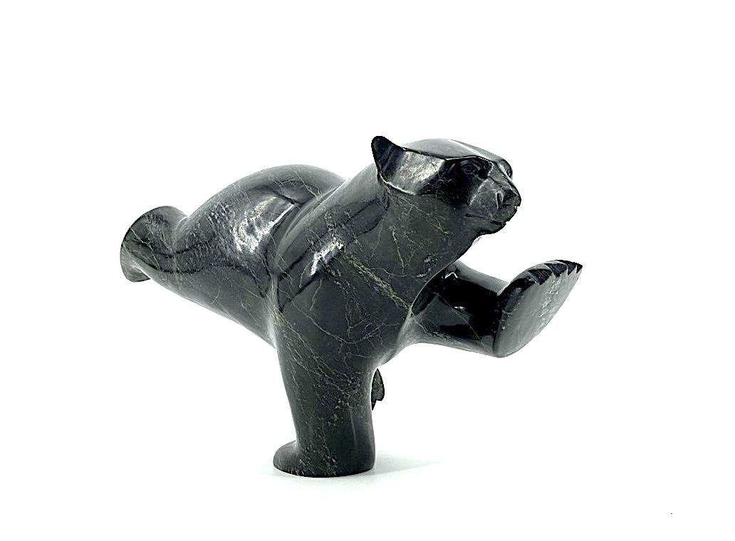 One Original Inuit Art sculpture by Ashevak Adla from Cape Dorset Nunavut , made of black Serpentine in 2021 ''Diving Bear 18468''.One Original Inuit Art sculpture by Ashevak Adla from Cape Dorset Nunavut , made of black Serpentine in 2021 ''Diving Bear 18468''.
