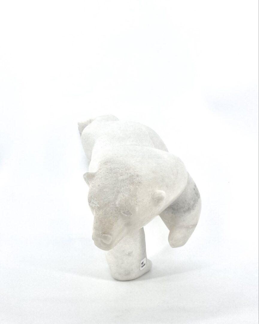 inuit art sculpture dancing bear two ways white marble isaacie petaulassie cape dorset