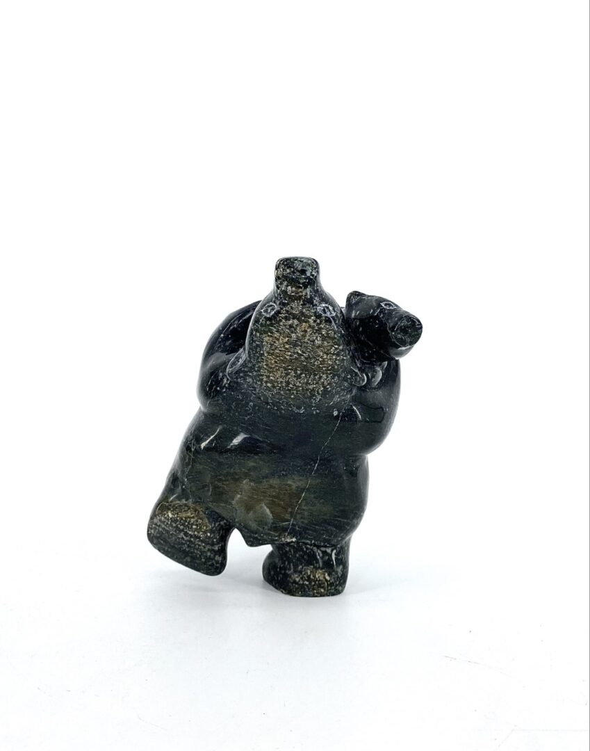 Original Inuit art sculpture by Markoosie Papigatuk Dancing Bear 18666 from Cape Dorset, Nunavut made with serpentine stone in 2021