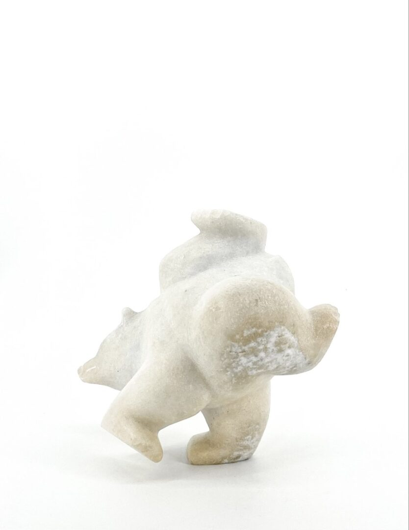 samonie shaa white marble dancing bear sculpture from cape dorset made in 2019