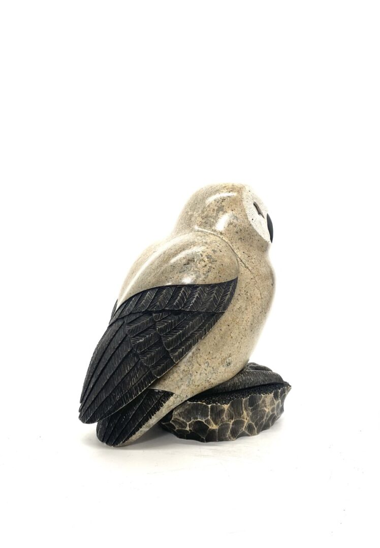 Original Iroquois sculpture hand carved in soapstone by Cyril Henry '''Owl''