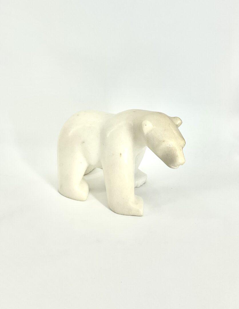 One original Inuit art sculpture hand carved in White Marble by Etulu Salomonie ''Bear 68840