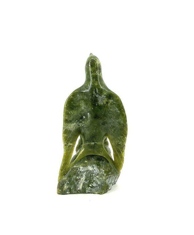 One original Inuit art sculpture hand carved in green serpentine by Mauk Lola Pitsiulak