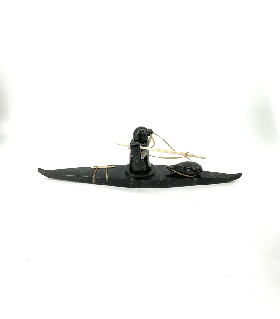 One original Inuit art sculpture hand carved in serpentine by Noah Jaw ''hunter on qajaq 6881m